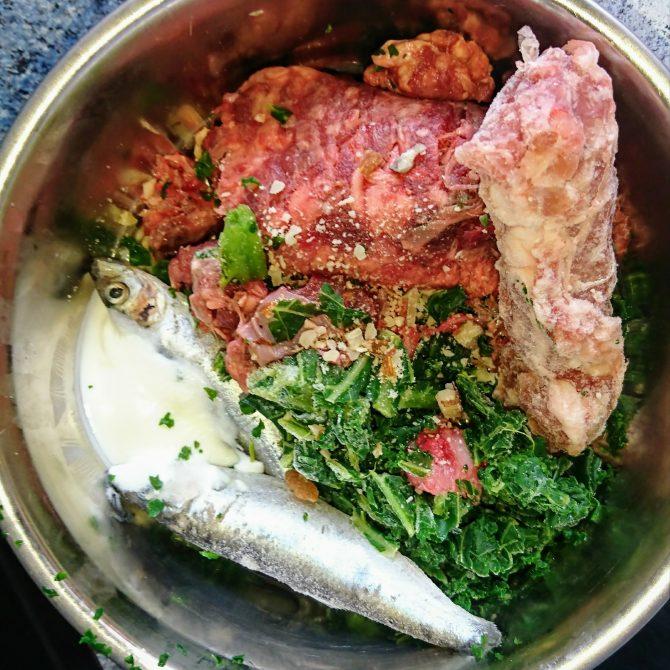 sprats-chicken-neck-kale-fish-yogurt-beef-mince